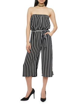 Strapless Striped Gaucho Jumpsuit with Sash - 1045054269551