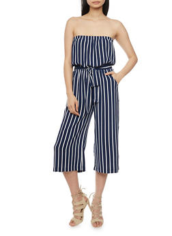 Strapless Striped Gaucho Jumpsuit with Sash - ECLIPSE - 1045054269551