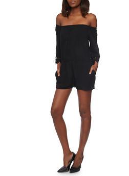 Crepe Knit Off the Shoulder Romper with Crochet Sleeve Ends - BLACK - 1045054269688