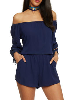 Crepe Knit Off the Shoulder Romper with Crochet Sleeve Ends - ECLIPSE - 1045054269688