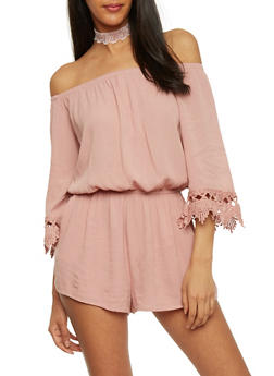 Crepe Knit Off the Shoulder Romper with Crochet Sleeve Ends - MAUVE - 1045054269688