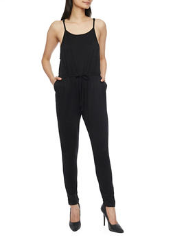 Sleeveless Jumpsuit with Cinched Waist and Faux Adjusting Drawstring - BLACK - 1045054269786