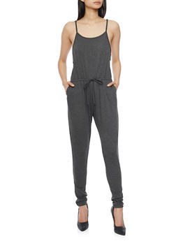 Sleeveless Jumpsuit with Cinched Waist and Faux Adjusting Drawstring - CHARCOAL - 1045054269786