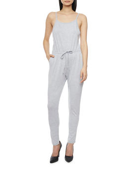 Sleeveless Jumpsuit with Cinched Waist and Faux Adjusting Drawstring - HEATHER - 1045054269786