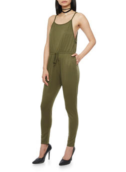 Sleeveless Jumpsuit with Cinched Waist and Faux Adjusting Drawstring - OLIVE - 1045054269786