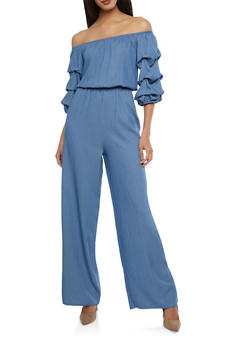 Off the Shoulder Chambray Jumpsuit - 1045058750036