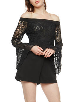 Off the Shoulder Crepe Knit Crochet Romper - 1045058750157
