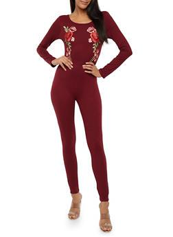 Long Sleeve Rose Applique Catsuit - 1045058752592