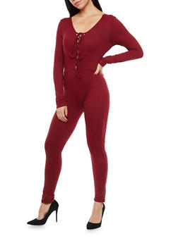 Soft Knit Lace Up Catsuit - 1045058752596