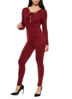 Soft Knit Lace Up Neck Catsuit - 1045058752597