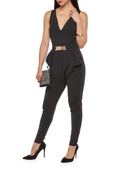 Textured Knit Ruched Pocket Jumpsuit - 1045058752925