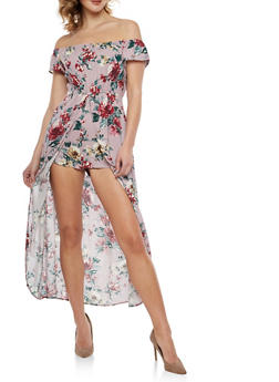 Floral Off the Shoulder Romper with Maxi Skirt Overlay - 1045058753423