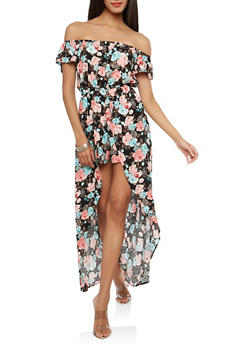 Off the Shoulder Romper with Maxi Skirt Overlay - 1045058753489