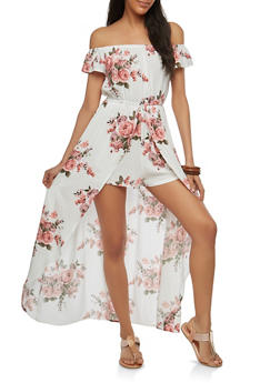 Off the Shoulder Romper with Maxi Skirt Overlay - 1045058753490