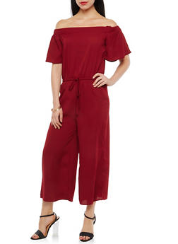 Crepe Knit Off the Shoulder Jumpsuit - 1045058753498
