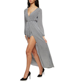 Striped Faux Wrap Romper with Maxi Skirt Overlay - 1045058753503