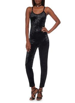 Sleeveless Crushed Velvet Jumpsuit - BLACK - 1045058930309