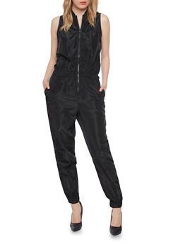 Sleeveless Silk Jumpsuit with Zipper - BLACK - 1045058930816