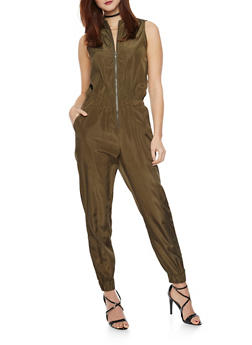 Sleeveless Silk Jumpsuit with Zipper - OLIVE - 1045058930816