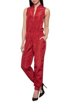 Sleeveless Silk Jumpsuit with Zipper - 1045058930816