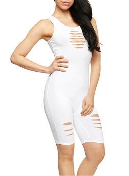 Sleeveless Slashed Catsuit - WHITE - 1045058933112