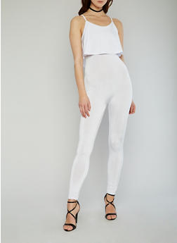 Sleeveless Ruffled Jumpsuit - WHITE - 1045058933113