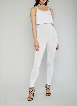 Sleeveless Ruffled Jumpsuit - WHITE - 1045058933113