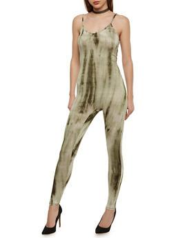 Sleeveless Tie Dye Catsuit - SAGE - 1045058933116