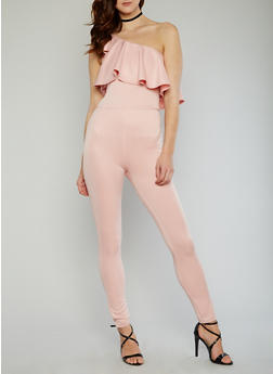 One Shoulder Scuba Knit Jumpsuit with Ruffle Overlay - BLUSH - 1045058933117