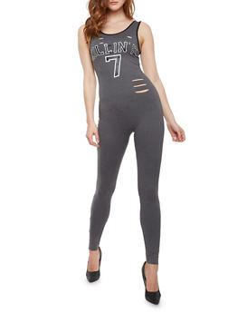 Lasercut Still Killin It Graphic Catsuit - HEATHER - 1045058933119