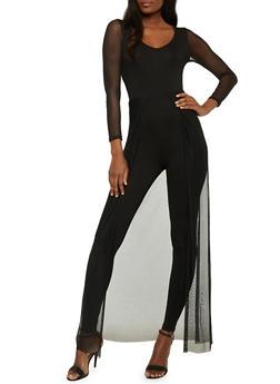 Mesh Skirt Overlay Catsuit - 1045058933120