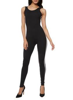 Solid Sleeveless Varsity Stripe Catsuit - BLACK/WHITE - 1045058937323