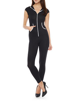 Hooded Zip Front Bodysuit with 2 Front Pouch Pockets - 1045058938026