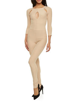 Solid Catsuit with Cutouts - 1045061634563