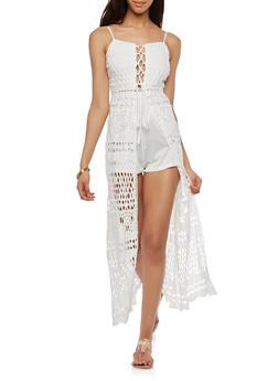 Lace Up Crochet Maxi Romper - 1045062121040