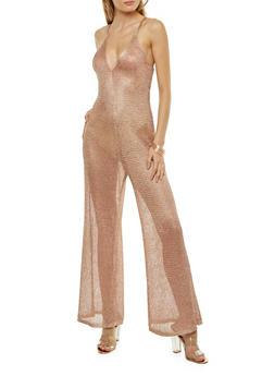 Metallic Mesh Knit Wide Leg Jumpsuit - 1045062123152