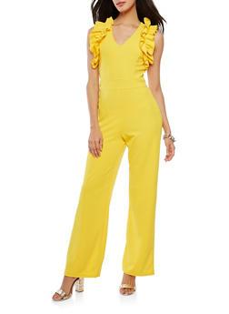 Crepe Ruffle Trim Jumpsuit - 1045062128961