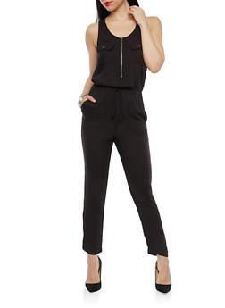 Cinched Waist Zip Jumpsuit - 1045069396742