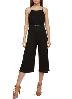 Sleeveless Rib Knit Wide Leg Capri Jumpsuit with Braided Belt - 1045069396746