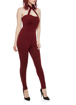 Crepe Knit Choker Neck Jumpsuit - 1045069396796