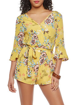 Yellow Floral Faux Wrap Romper - 1045069398082