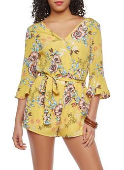 Yellow Floral Faux Wrap Romper - 1045069398082