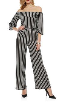 Striped Off the Shoulder Wide Leg Jumpsuit - 1045074012023
