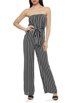 Striped Crepe Knit Jumpsuit - 1045074012024