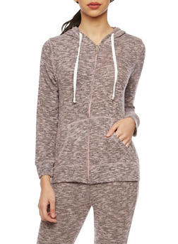 Soft Marled Knit Hoodie with Zip Front - 1056001440098