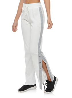 Cream Varsity Striped Flyaway Knit Sweatpants - 1056001441355