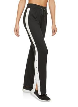 Black Varsity Striped Flyaway Knit Sweatpants - 1056001441357