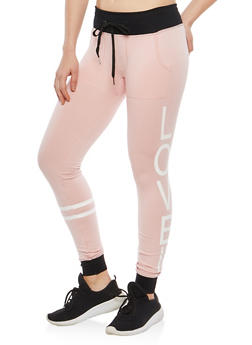 Love Graphic Fleece Lined Sweatpants - 1056001442511