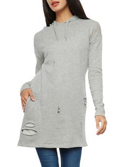 Distressed Hooded Tunic Sweatshirt - 1056001447100