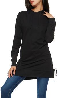 Side Lace Up Hooded Tunic Sweatshirt - 1056001447161